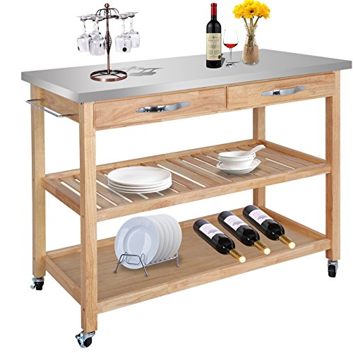 ZENY Natural Wood Kitchen Cart Rolling Kitchen Island Utility Serving Cart...