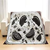 BEIVIVI Ice Cream Soft Throw Blanket, Weighted Blanket,Oreo Ice Cream Cookies and Cream Homemade Ice Cream Dessert Close Up,Throw Blankets for Couch,Baby Size: 31Wx47L Inch