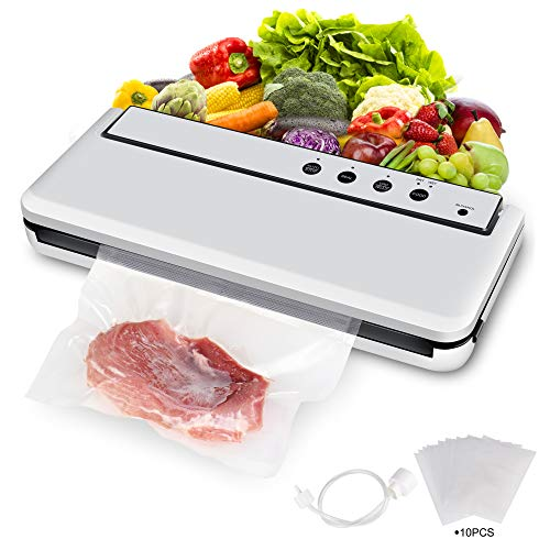 COMRUAK Vacuum Sealer Food Saver: Automatic Small Compact Large Big Wide Airtight Cheap Quiet Professional Vacuuming Kit Vegetable Steak Meal Canister Jar Can Dry Wet Commercial Air Seal Machine