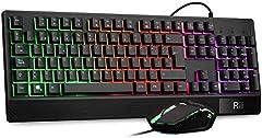 Rii RM400 Combo Rainbow - Teclado Gaming Retroiluminación ,Teclado y ratón con cable,12 teclas multimedia y 19 teclas anti fantasma para Windows/Vista /Linux/Mac (Teclado Español,Negro)