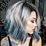 Short Bob Wig for Women Ombre Blue Wig Wavy Synthetic Wigs Grey to Blue 3 Tone Wig with Black Roots Heat Resistant Fiber Cosplay Wigs with Side Part