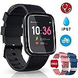 Smartwatch Reloj Inteligente Deportivo Pulsera Actividad Inteligente IP67 Duración Batería 10-15 días 1.3'' a Color Cronómetro Podómetro Monitor de Calorías y Sueño SMS SNS para iOS y Android