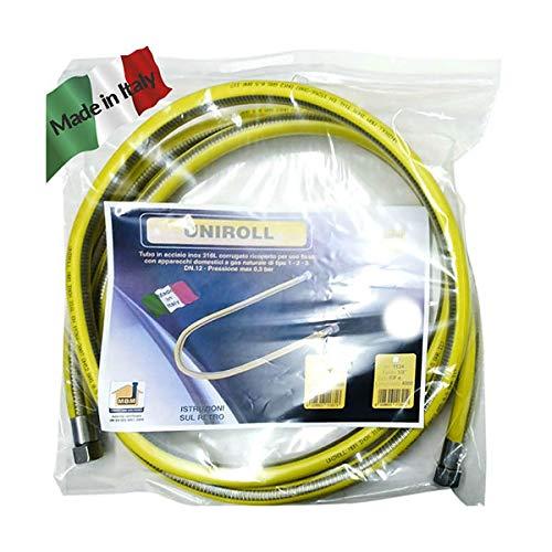 Flexible Gasleitung 1/2 FF 1.5 mt Stahl nach EN 15266 für Herd/Küche Uniroll