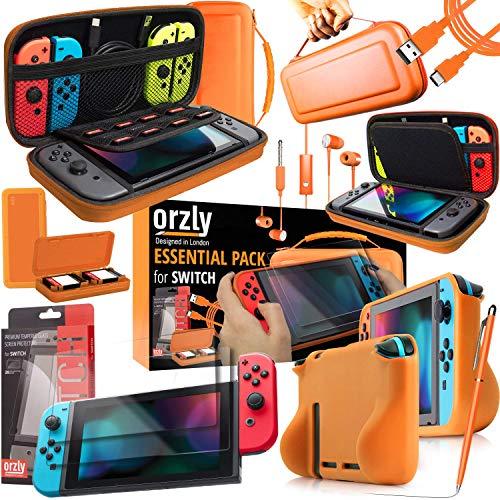 Orzly Accesorios para Nintendo Switch (Incluye: Protectores de Pantalla, Cable USB, Funda para Consola, Estuche Tarjetas de Juego, Comfort Grip para los mandos JoyCon, Auriculares) Naranja