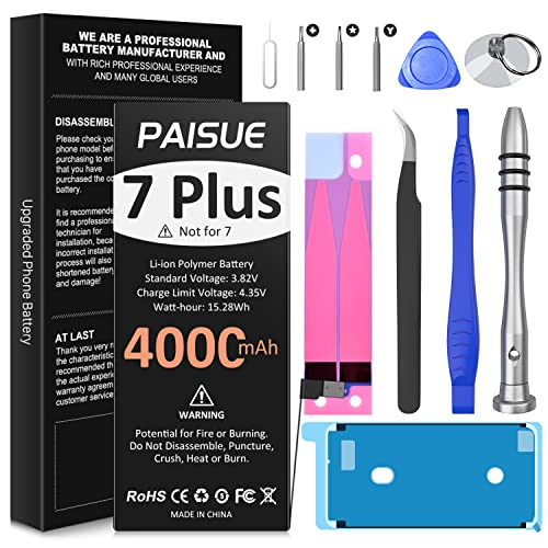 Battery for iPhone 7 Plus, Upgraded 4000mAh High Capacity Replacement Battery, New 0 Cycle Li-ion Battery for 7 Plus A1661 A1784 A1785 with Complete Repair Tool Kit and Instruction