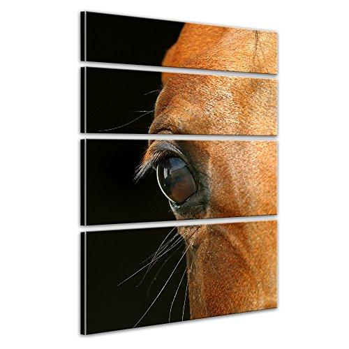 Keilrahmenbild Pferdeauge - 120x180 cm hochkant mehrteilig Bilder als Leinwanddruck Fotoleinwand Tierbild Reittier - Closeup eines braunen Pferdes