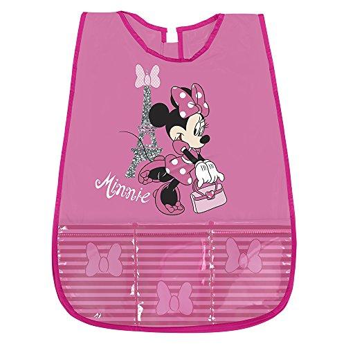 PERLETTI Grembiule Bambina Minnie - Copri Grembiule Bimba Impermeabile in PVC con Tasca Frontale - Ideale per Proteggere i Vestiti da Macchie e Pittura - 3/5 Anni - Rosa