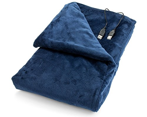 Convenient Gadgets & Gifts USB Heated Shawl and Lap Blanket - Blue Color - USB Heated Throw Perfect Alternative to a Mini Office Desk Heater