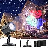Proyector Luces Navidad, Esmart Luz de Proyector Impermeable IP65, Interior y Exterior Decoración con 12 Diapositivas de Patrón para Fiestas, Halloween, Navidad, Festivos.