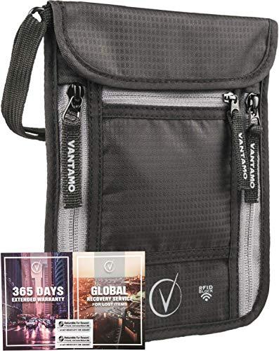Vantamo borsttas heren en vrouwen - reispas tas met RFID-blokker - geschikt voor paspoorten met cover - incl. Global Recovery Tags - Stijlvol zwart/grijs