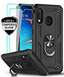 LeYi Samsung Galaxy A20/ A30 Case with Tempered Glass Screen Protector, [Military Grade] Magnetic Car Ring Holder Mount Kickstand Defender Protective Cover Phone Case for Samsung A20/ A30, Black