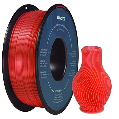 LONGER PLA Filamento per Stampante 3D 1,75mm, Precisione Dimensionale +/- 0,02 mm, Nessun Groviglio, Ecologico, Tuta Ampiamente Compatibile per Stampante 3D FDM (1000g, Rosso)
