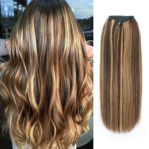 ABH AmazingBeauty Hair Miracle Wire Hair Extensions - Invisible Miracle Wire Remy Human Hair, 4-27 Chocolate Brown with Warm Beach Blonde Highlights, 20 Inch