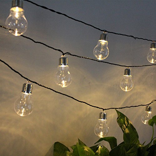 garden mile 6pc Large Glass Edison Screw Retro Hanging Solar Powered LED Bulb String Lights Fairy Lamps For Outdoor Garden Warm White LED Lighting
