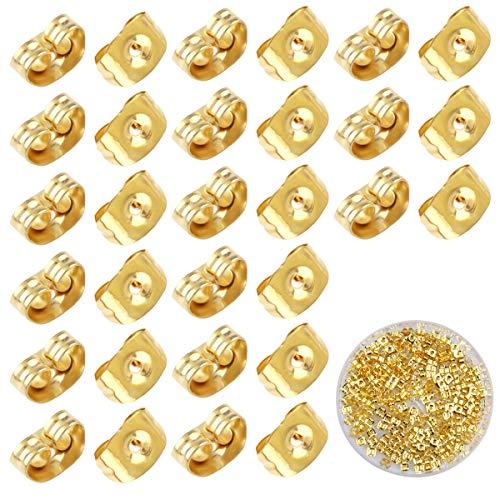 Dokpav 200PCS Universal Ohrstopper Ohrstecker Verschlüsse, Gold Silber Ohrring Stopper, Poallergenen Butterfly Ohrstopper, Ohrringverschlüsse, Ohrstecker Schmetterling Verschluss Ohrstopper (A)