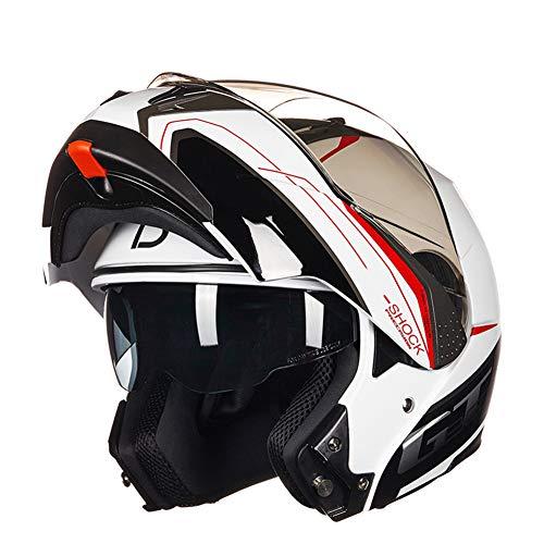 YWLG Helm Motorrad Motorrad Herren Flip Up Externe Transparente Linse Und Integrierte Sonnenbrille Anti-Fog-Offroad-Integralhelm,H-M