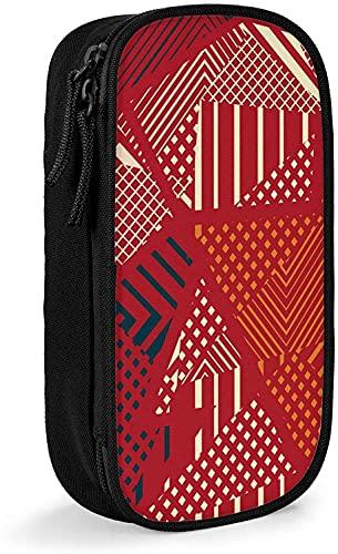 Astuccio per matite astratto rosso tribale geometrico minimalista cerniera portapenne per università scuola ufficio nero