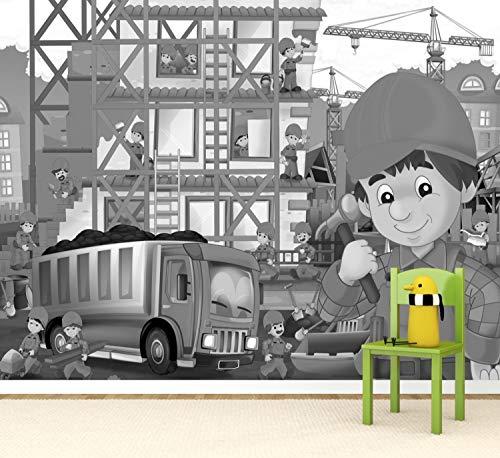 Vlies Tapete Poster Fototapete Kinderzimmer Baustelle Bauarbeiter Farbe schwarz weiß, Größe 100 x 80 cm