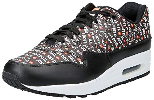 Nike Herren Air Max 1 Premium Sneakers, Mehrfarbig (Black/White/Total Orange 001), 43 EU