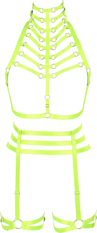 Lingerie cage Full body harness for women Gothic Punk Bra Garter belt set Festival Rave Plus size Halloween Chest strap