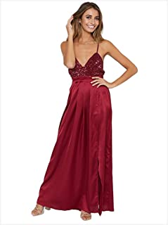 cb1d3264a430 Bridesmaid Dress Women Spaghetti Straps Sleeveless Evening Dress Plunging V  Neck Backless Sequin Maxi Dress High