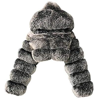 Dosoop Women Short Faux Hooded Warm Furry Splicing Jacket Long Sleeve Outerwear Plus Size Winter Coats