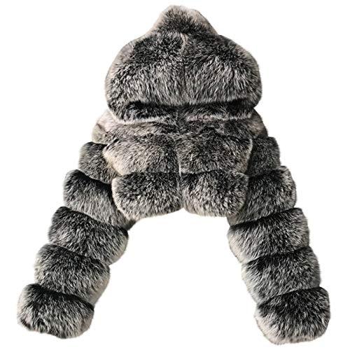 2021 Damen Mantel Plüschjacke Wintermantel Kurzmantel Frau Short Faux Hooded Warm Furry Spleißjacke Langarm Oberbekleidung (Dunkelgrau, Small)
