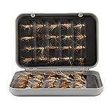 Alomejor Fliegenfischen Lockt Fliegenfischen Fliegen Nass Trockenfliegen Lockt Trocken Nassfliegen Kder Haken mit Box