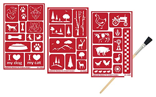 3 Armour Etch Over N Over Reusable Glass Etching Stencils | Farmhouse, Farm Animal, Pets, Forest, Tree Theme | Designs: Rooster, Chicken, Cow, Pig, Dog, Cat, Paw | Set Includes Brush, Total 4 Items