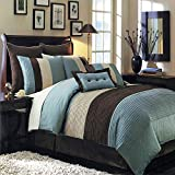 Royal Hotel Hudson Teal-Blue, Brown, and Cream Queen Size Luxury 8 Piece Comforter Set Includes Comforter, Bed Skirt, Pillow Shams, Decorative Pillows