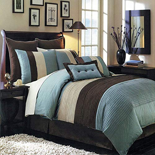 Hudson Teal-Blue, Brown, and Cream King Size Luxury 8 Piece Comforter Set Includes Comforter, Bed Skirt, Pillow Shams, Decorative Pillows