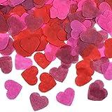 HQdeal 6000 Pièces Confettis en Forme de cœur, Confettis de Table en Papier, Confettis Roses Rouge pour Les Décorations de Fête de Mariage, Baby Shower (Rouge, vin Rouge, Rose Rouge)