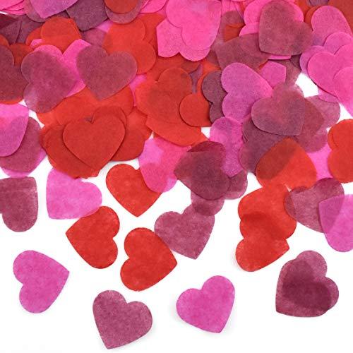HQdeal 6000 Piezas de Confeti de Corazón, Multicolor Confeti de Papel, Confeti de Mesa para Decoración de Fiesta,Boda, Cumpleaños, Baby Shower, 60g (rojo/rosa rojo/rojo vino)