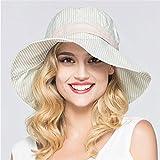 Sombrero De Playa para Moda Verano Mujer Algodón Lino Raya ala Ancha Gorra De Cubo Sombreros para El Sol Bowknot Sombrero De Playa Transpirable Mujer Viajes Al Aire Libre Asde