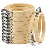 Caydo 12 Pieces 3 Inch Wooden Round Embroidery Hoops Adjustable Bamboo Circle Cross Stitch Hoop Ring Bulk Wholesale for Christmas Ornaments, Art Craft Handy Sewing
