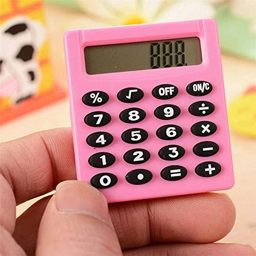 Supertool, mini calcolatrice elettrica, multicolore, portatile, per scuola, casa, ufficio, 50 mm x 45 mm x 8 mm, rosa