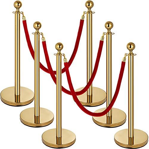 6PCS Stanchion Set, Stanchion Posts Queue Pole 5Ft 3 Red Velvet Ropes Crowd Control Barrier, Gold