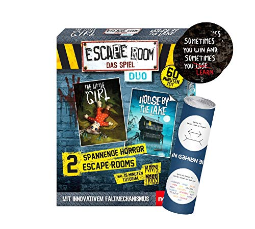 Escape Room Das Spiel Duo-Set: Gesellschaftsspiel ab 16 Jahren + 2X Escape-Sticker + 1x optisches Täuschungsposter