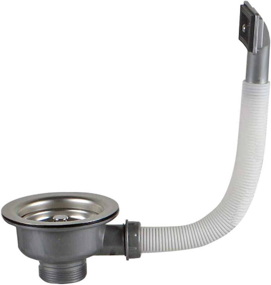 Residuos cesta colador y cuadrado tubo de desagüe, Valvula Fregadero 110 1 1/2'' Cesta Honda, Acero inoxidable + ABS