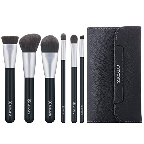 amoore 6 Stück Make up Pinselsets Make up Pinsel mit Tasche Schminkpinsel Make Up Pinsel Set mit...