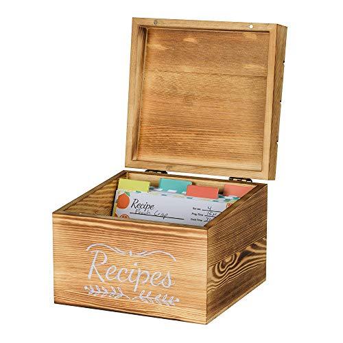 Pinelive TriSlot Rezeptbox mit Karten und Trennwänden, rustikale Holz-Rezeptbox mit 76 Blanko-Rezeptkarten 4x6, 8 Trennblätter und Maßen. Für Küche oder Rezeptkarten für Brautpartys