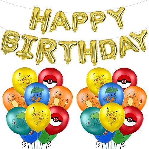 JAHEMU Cumpleaños Globos para Pokemon Pikachu Party Supplies Set 21 Pack Latex Balloons con Globos Decoraciones de Pancartas Suministros de Fiesta de Celebración