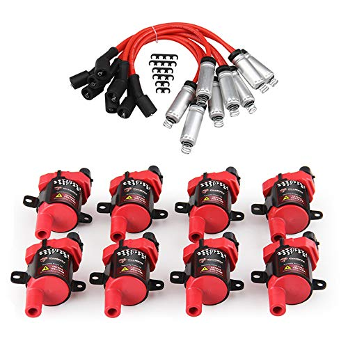 CarBole 8 Pack D585 Ignition Coil and 748UU 8mm Spark Plug Wires Set for GMC CADILLAC 4.8L 5.3L 5.7L 6.0L fits C1251 UF262,