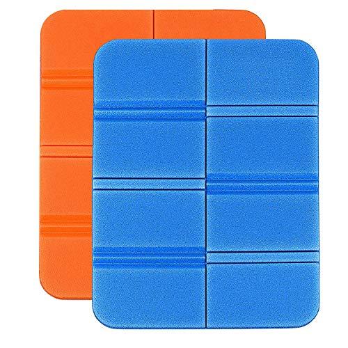 Cuscino pieghevole per esterni, cuscino termico, cuscino per seduta pieghevole, impermeabile, per esterni, per giardino, campeggio, picnic, trekking, 2 pezzi (arancione, blu)