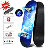 Easy_way Complete Skateboards- Standard Skateboards with Colorful Flashing Wheels for Beginners Starter Kids Boys Girls Teenager- 31''x 8''Canadian Maple Cruiser Pro Skate Board, Longboard Skateboards