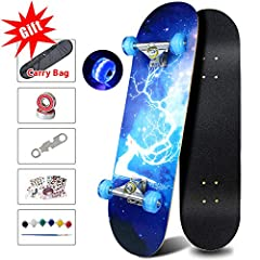 """[EASY TO RIDE] 31 """" Complete Skateboard, with PU flashing wheels (will light up when you use ) make you safe when you ride in dark place and 8""""wide non-slip dull polish wooden deck can not only provide more stability and safety for users but also hol..."""
