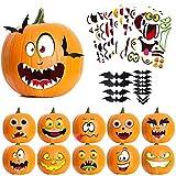Pumpkin Decorations Halloween Party Favors for Kids, 40 Style Pumpkin Decorating Stickers + 12 Pack 3D Bats Wall Decals, Pumpkin Face Jack-O-Lantern Craft Kit Stickers Halloween Trick or Treat