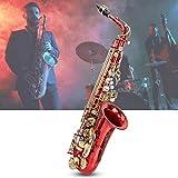 Focket Saxofón Alto, Buen Timbre Pintura Múltiple con Patrones de Talla Tubo de Trompeta Alto Sax Kit de Música para Instrumentos de Orquesta con Botón de Concha Blanca Natural, Tela, Guantes (Rojo)
