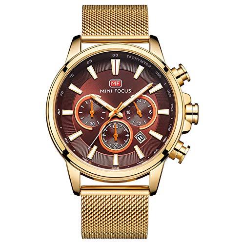JTTM Hombre De Ultrafino Impermeable Acero Inoxidable Malla Reloj Moda Simple Multifunción Calendario Negocios Analógico Cuarzo Relojes para Hombre,Oro