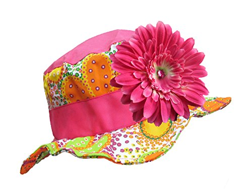Jamie Rae Hats - Orange Floral Sun Hat with Candy Pink Daisy, Size: 4-6Y